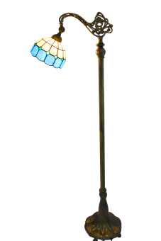 Harga Mediterranean style FL0004 width 8inch high 63inch stained glass tiffany floor lamp metal base - intl