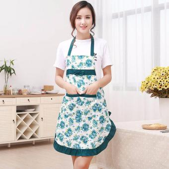 Harga Amart Kitchen Printed Apron with Pockets Waterproof Floral Bib Green - intl