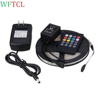 Harga WFTCL Waterproof 300LEDs SMD 3528 RGB LED Strip Lights Kit with 20-key Music Sound Sense IR Controller and 12V Power Supply   - intl