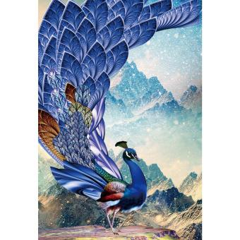 Harga DIY 5D Diamond Ice Blue Peacock Wall Stickers Painting - intl