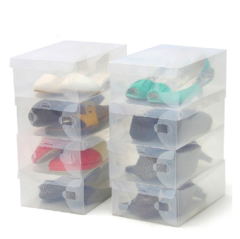 Harga 10pcs/lot Clear Foldable Plastic Shoe Storage Boxes Stackable Tidy Organizer Shoe Holder Easy DIY Hot