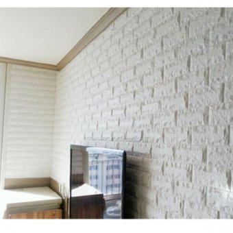 Harga Foam brick sticker wall sticker - White