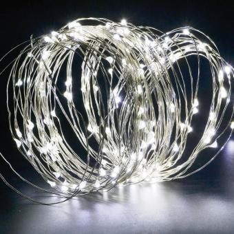 Harga 200LEDS Solar String Lights Starry Light Outdoor Christmas Fairy Lights Warm White Copper Wire LED 8 Modes-Flash(1800ma) White