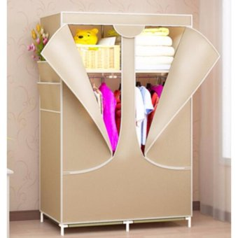 Harga Full closed zipper, economical stainless steel assembly wardrobe, simple modern integral cloth, simple double wardrobe - intl