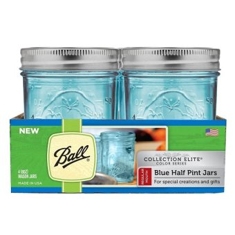 Harga Ball Collection Elite Regular Mouth Half Pint 8oz Blue Mason Jars (Set of 4)
