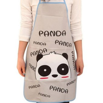 Harga Women Cute Cartoon Waterproof Apron Kitchen Restaurant Cooking Apron Panda - intl