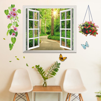 Harga Living room sofa background wall decorative painting window stickers tian yuanqing new entrance window wall stickers can be removed