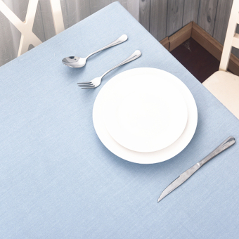 Harga Simple fabric light blue yarn-dyed tablecloth