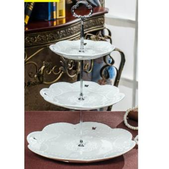 Harga 3-Tier Butterfly Cake Stand (Silver Phoenix Ring)