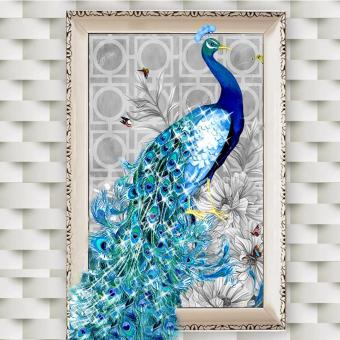Harga OH 5D Diamonds Plated Embroidery Peacock Painting Home Bedroom Decoration Right