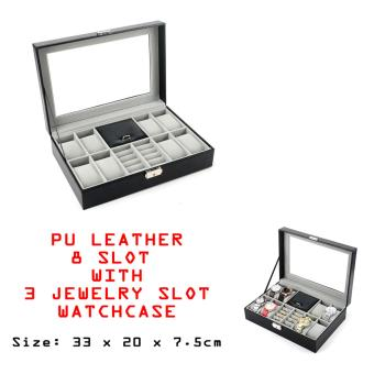 Harga 8 SLOT PU LEATHER WITH JEWELLERY WATCH DISPLAY BOX CASE