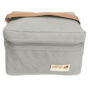 Harga Thermal Insulated Lunch Box Tote Bento Pouch Container Lunch Bags Grey - intl