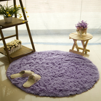Harga GETEK Round Soft Shaggy Round Rug Carpet Bedroom Floor Mat 120CM (Gray Purple)