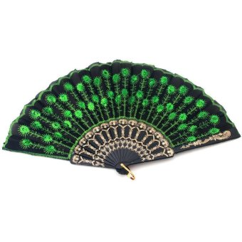 Harga LALANG Chinese Wind Folding Sequin Peacock Fantail Fan Embroidery (Green)