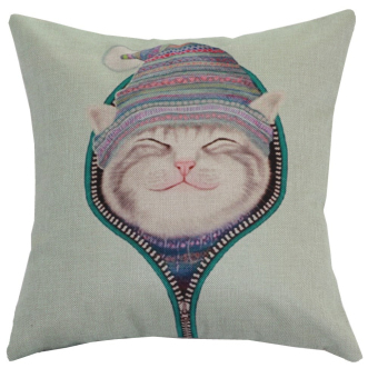 Harga Smile Lovely Cat Throw Pillow Case Pillow Case Sofa Home Decor Cushion Cover (No Filling)