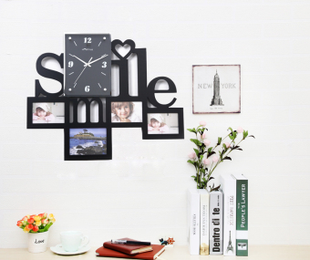 Harga Smile letters creative photo frame wall clock living room decoration clock modern clock personalized art watch quartz ultra quiet