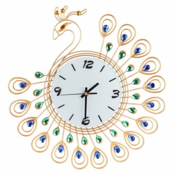 Harga Peacock Appearance of Jade Glass Plate 35*35CM Wall Clock Home Decor S(Gold) - intl