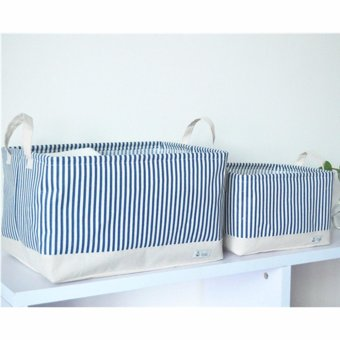 26*20*17CM Hot Sell Cotton Linen Laundry Baske Home Clothes Storage Bag Multifunction Foldable Basket Blue - intl