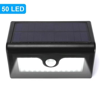 Harga YY-5006 50-LED Solar Powered Wall Light PIR Motion Sensor Waterproof Outdoor Light - Black - intl