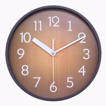 Harga JustNile Retro Country-Style Round Silent Wall Clock - 10-inch Coffee (Brown)