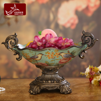 Harga European garden bird fruit plate living room decorations ornaments creative home furnishings american tall fruit bowl