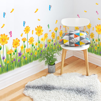 Harga Removable baseboard wall stickers corner entrance hallway living room bedroom wall wallpaper waterproof wall decoration flowers