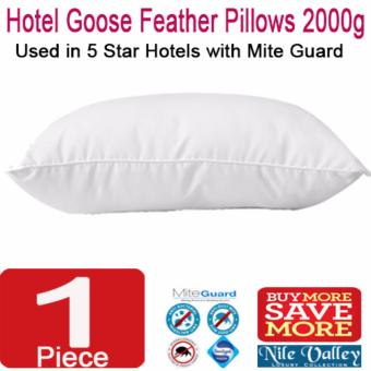 Harga Nile Valley's 5 Star Hotel Goose Feather Pillow 2000g with Mite Guard for Good Night Sleep