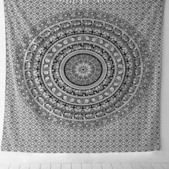 Harga 150*130cm Indian Mandala Wall Hanging Tapestry Bohemia Tapestries Floral Polyester Bedspread Tablecloth Summer Large Beach Towel - intl
