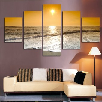 Harga No Frame Home Decor 5 Pcs Canvas Wall Painting Landscape Sunrise to Sea Art Picture For Living Room Bedroom Arts Gift - Intl