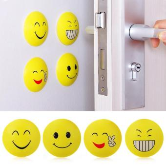 Harga 4 Pcs Rubber Door Handle Knob Smile Face Emoji Crash Pad Anti Collision Stopper - intl