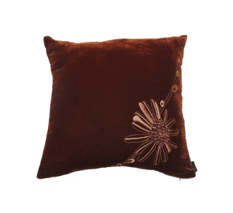Harga Velvet Cushion Cover with Daisy Embroidery RED