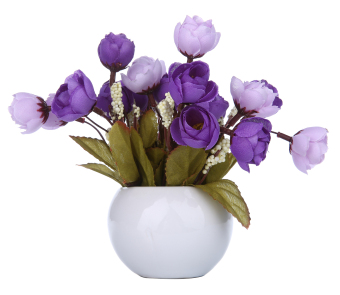 Harga niceEshop Simulation Silk Flowers Camellia Sasanqua Artificial Flowers Set with Round Vase,purple