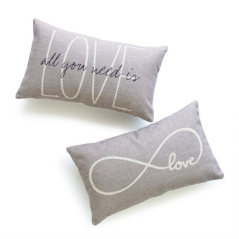 Harga HOF Deco Set of 2Pcs Lumbar Pillow Case Grey Love Is All You Need and Infinite Love His Her Love Script HEAVY WEIGHT FABRIC Cushion Cover 30x50
