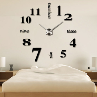 Harga Modern Simple Style DIY Large 3D Wall Sticker Time Clock for Home Office Decoration
