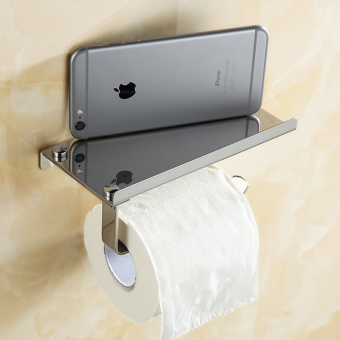 Lifine Stainless Steel Toilet Tissue Rack Mobile Phone Holder Bathroom Accessories-Sliver
