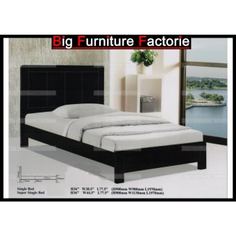 Harga BFF3632-WB Solid Wooden Bed (Walnut) - Super Single