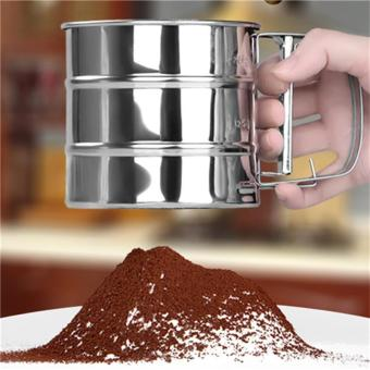 Jiayiqi 1 PCS Stainless Steel Mesh Flour Sifter Mechanical Baking Icing Sugar Shaker Sieve Tool Cup Shape - intl