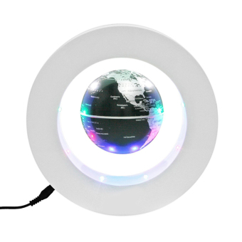Harga Floating Globe O Shape LED Light World Map Magnetic Levitation Home Decoration (White+Black)