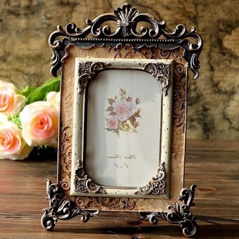 Harga Retro Vintage Brown Resin Picture Frame Photo Frame Home Decor 6.3x10.2x0.4'' - intl