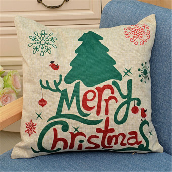 Harga 18inch Christmas Xmas Tree Santa Deer Sofa Pillow Case Car Cushion Cover Home Decor