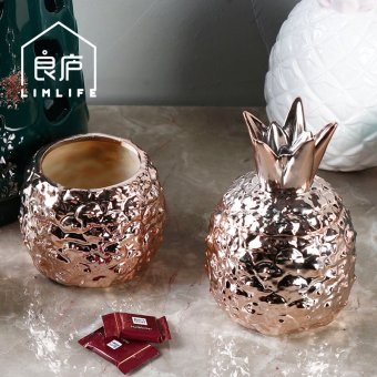Harga Limlife pineapple ceramic storage jar storage tank candy jar with lid model room decoration furnishings nordic