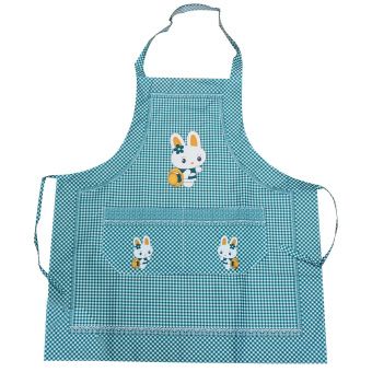 Harga Cooking Work Bib Rabbit Lattice Pocket Cartoon Apron Dress Green