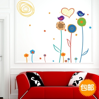 Harga Sunflower wall stickers living room bedroom tv background wall romantic cartoon child room wallpaper adhesive waterproof