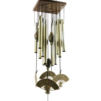 60CM Fan-shaped with 12 tubes Bronze Alloy Wood Wind Chimes Windchimes Outdoor Garden Decoration Yard Decor - intl