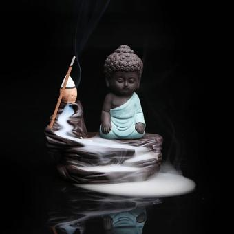 Harga Ceramic Quiet Thinking Buddha Tower Incense smoke backflow censer Stick Incense Burner Temple Supply Tea Pet Home Furnishing - intl