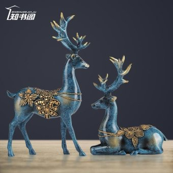 Harga A Couple of European Style Bedroom Living Room Decor Deer Wine Ornaments Home Furnishing Creative Wedding Gift - intl