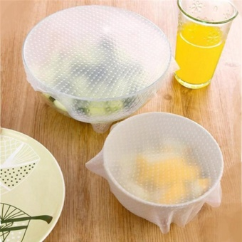 Harga New 4pcs Multifunctional Food Fresh Keeping Saran Wrap Kitchen Tools Reusable Silicone Food Wraps Seal Cover Stretch - intl