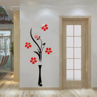 3D Vase Flower Tree Wall Sticker Crystal Acrylic Home Room Decor 1# - intl Price in Singapore