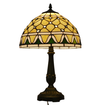 Harga Jewelry TLC12004 width 12inch high 24inch stained glass shade tiffany style table lamp resin base - intl