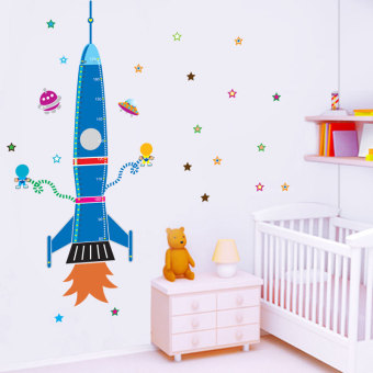 Harga Rocket height stickers nursery children's room bedroom decoration sticker cartoon wall stickers wallpaper waterproof wall stickers